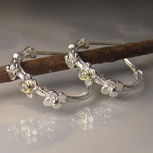 Twig Hoop Earrings sterling silver hoop earrings handcast twig earrings