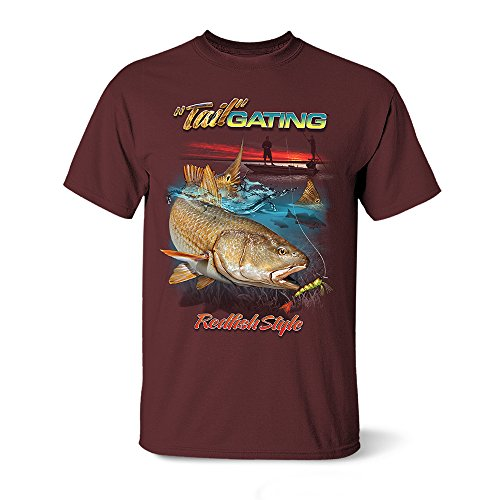 (Follow the Action Redfish Tail Gating One-Sided Short Sleeve Fishing T-Shirt (X-Large))