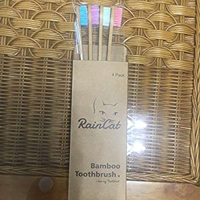 Bamboo Toothbrush - Save with Value 4-Pack - Natural Bamboo Handle Toothbrushes for Teeth Whitening and Sensitive Gums - Travel Toothbrush and Guest Toothbrush - Family Friendly