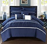 Chic Home 10 Piece Blanche Pleated & Ruffled Queen Bed In a Bag Comforter Set Navy With sheet set