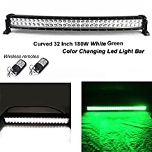 Night Break Light 32 Inch 180W Curved White Green Led Warning Strobe Light Bar 9 Different Flashing modes by Wireless Remote Led Emergency Fog Light Bar for Offroad Jeep ATV SUV Boat IP67 1 year warranty