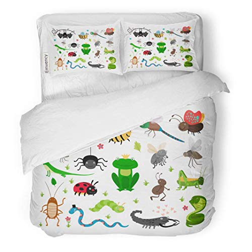 MIGAGA Decor Duvet Cover Set Twin Size Cute Insects and Reptiles Bee Grasshopper Lizard Snake Frog Cockroach 3 Piece Brushed Microfiber Fabric Print Bedding Set - Frogs Dazzle