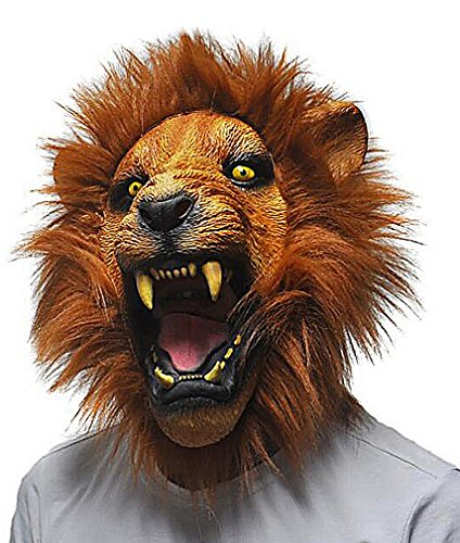 Maze Brown Tone Realistic Roaring Lion With Fur Latex Silicone Full Face Mask, Yellow One Size