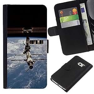Planetar® Modelo colorido cuero carpeta tirón caso cubierta piel Holster Funda protección Para Samsung Galaxy S6 EDGE / SM-G925(NOT FOR S6!!!) / SM-G925(NOT FOR S6!!!) ( Iss Space Station )