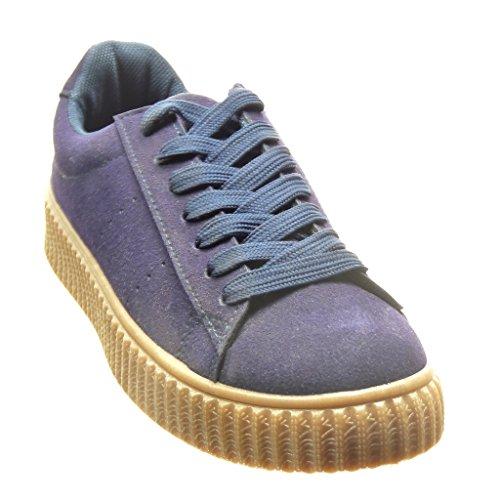 Angkorly - damen Schuhe Sneaker - Plateauschuhe flache Ferse 3 CM - Blau