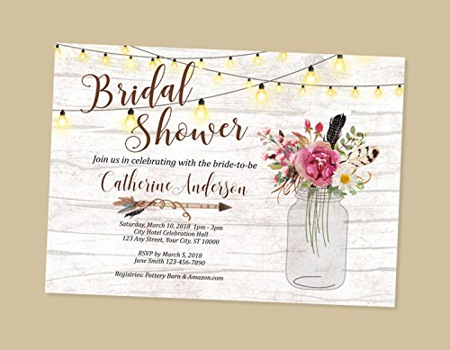 rustic bridal shower invitations wood string of lights bridal shower invitations country flowers