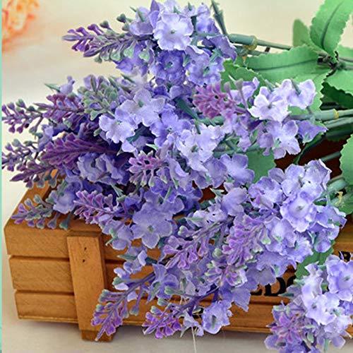 JHFUH 1Pcs Artificial Fake Flower Silk Plastic Bush Bouquet Suit for Bridal Bouquet Wedding Party Home Bookstore Cafe Store Cloth Shop Decoration (Purple)