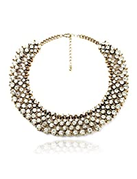 Fun Daisy Grand UK Princess Kate Middleton Hot Gold Tone Rhinestone Fashion Necklace
