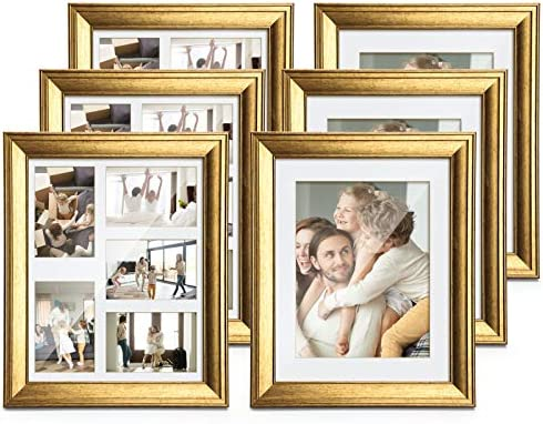 TWING 6 Packs 11x14 Picture Frame Gold Wood Displays 8x10 Photo Frame with Mat or 11x14 Inch Without Matted Shatter-Resistant Glass Table Top Display and Wall Mounting
