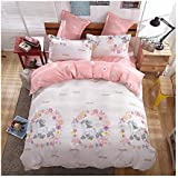 """KFZ Girls Magic Unicorn Bed Set Twin Full Queen and Standard Sizes, 1 Duvet Cover (Without Comforter Insert) and 2 Pillow Cases (Magic Unicorn, Pink, Twin 60""""x80"""" 3pcs)"""