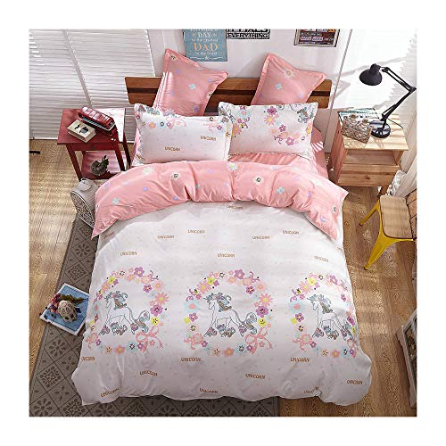 "KFZ Girls Magic Unicorn Duvet Cover Queen Set, 3PCs Kids Bedding Set with One 60"" x 80"