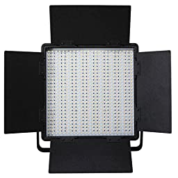 LEDGO 600 Value Series Bi-Color (3200K tungsten - 5600K daylight) LED Video Panel Light: 95 CRI, 3210 Lumens, Dimmable, Barndoors, Sony V-Lock Battery Compatible & includes a Three piece Filter Set