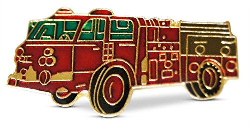 - 3-Piece Fire-Truck Fire Department Pride Lapel or Hat Pin and Tie Tack Set with Clutch Back by Novel Merk