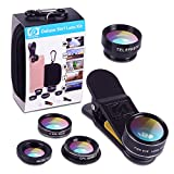 Apexel 5 in 1 HD Camera Lens Kit 198°Fisheye Lens+0.63x Wide Angle+15x Macro Lens+2X Telephoto Lens+CPL Lens for iPhone 7 6/6s 6/6s Plus SE Samsung Galaxy S7/S7 Edge S6/S6 Edge and most Smartphone