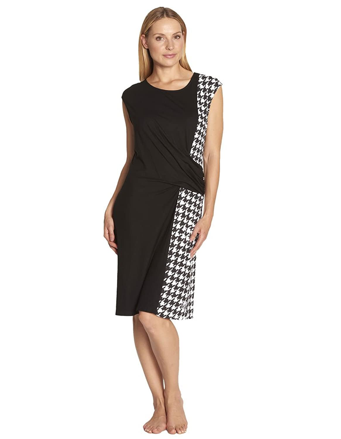 Feraud 3175069-10176 Women's Black and White Houndstooth Cover Up Beach Dress