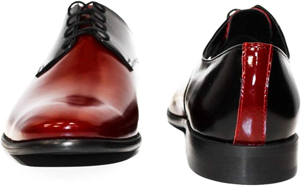 Handmade Italian Mens Color Colorful Oxfords Dress Shoes Modello Shineno Lace-Up Cowhide Patent Leather