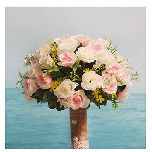 (Stylish Wedding Flowers Bouquet Peony Romantic Bride Bridesmaid Bouquet Holding Artificial Silk Flowers With Lace Home Wedding Decoration Multi-color)