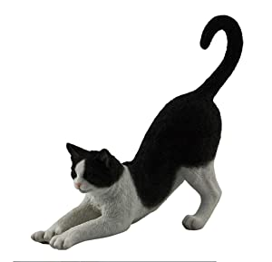Tuxedo Cat, Black and White, Stretching, Statue Figurine, Polystone