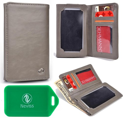 Universal wallet plus phone holder with captavative touchscreen window FOR Blackberry Porsche Design P'9981 in grey
