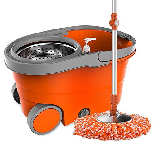 Zhanghaidong Rotary Mop Bucket Double Drive Mop Home Hand-Free Mop Bucket Automatic Hand Pressure Good God Drag Stainless Steel Self-Wringing Microfibre Spin Mop by Zhanghaidong (Image #5)