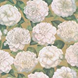 Entertaining with Caspari 97060RC Camellia Garden Gold Continuous Roll of Gift Wrapping Paper, 8', 1-Roll, Multicolored