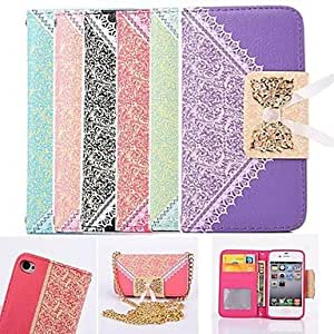 SOL ships in 48 hours Lace Wallet Style PU Leather Full Body Case with Card Slot for iPhone 4/4S (Assorted Colors) , Rose