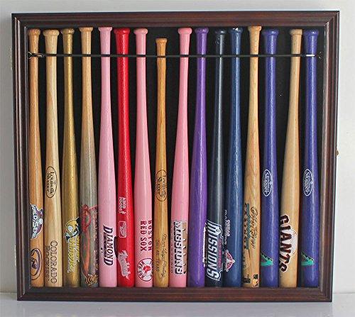 ni Bat Display Case Cabinet Holder Rack w/98% UV Lockable Holds 16 Bats (Mahogany Finish) ()
