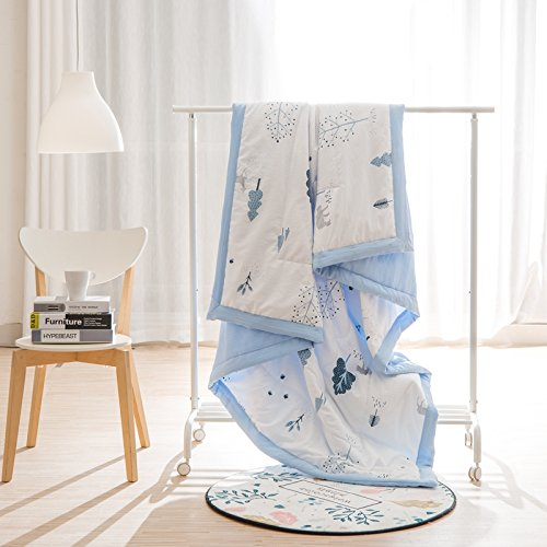 KFZ Cotton Quilt Comforter Cotton Bedspread Bed Cover for Bedding Set CJF SXM twin Full Queen Size Rabbit Dog Apple Pie Watermelon Design for Kids 1pc (Plant Tree, Blue, Twin 59