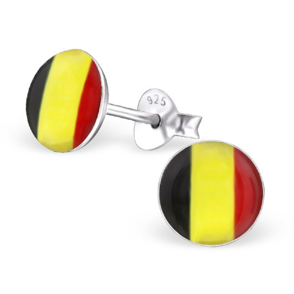 925 Sterling Silver Round Belgium Flag Stud Earrings 24434