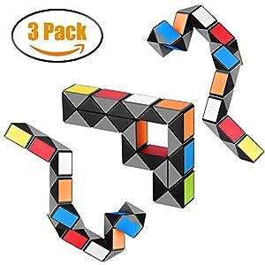 Snake Magic Cube 3 Pack 24 Blocks Colorful Twist Puzzle Set Brain Teaser Rainbow Snake Ruler Shape Fidget Toys Kid Geometric Game Gift for Children Kids - Ganowo