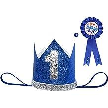 Maticr Glitter Baby Boy Girl First Birthday Crown & Prize Badge Number 1 Headband Cake Smash Photo Prop