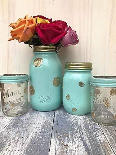 Amazon com: Set of 4 Painted Mason Jars Mint and Gold Baby