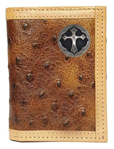 Custom Ornate Cross Ostrich Print trifold - Leather Fold Tooled Tri