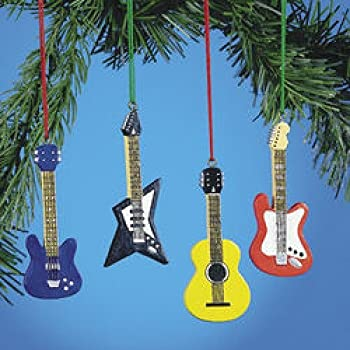Amazon.com: 4 GUITAR CHRISTMAS tree ORNAMENTS music holiday: Home ...