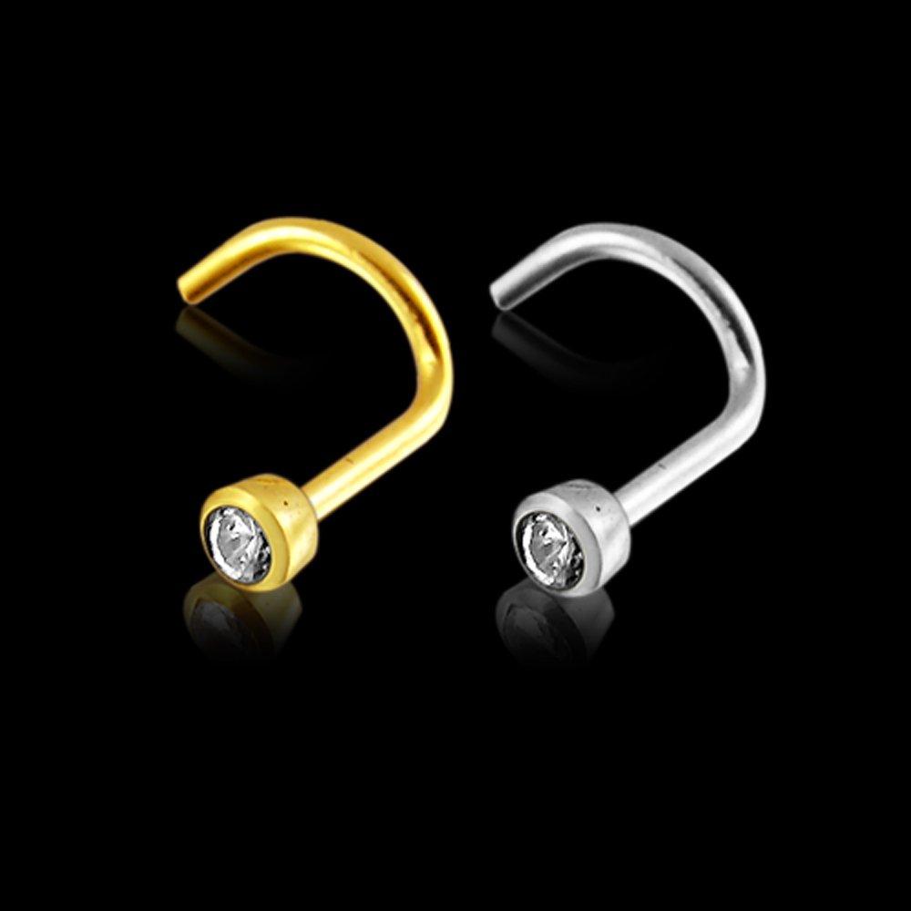 14K Solid Gold Bezel Set 2MM Round CZ Stone 18 Gauge Screw Nose Stud Piercing Jewelry AtoZ Piercing ATOZ-GW-600-SNK41