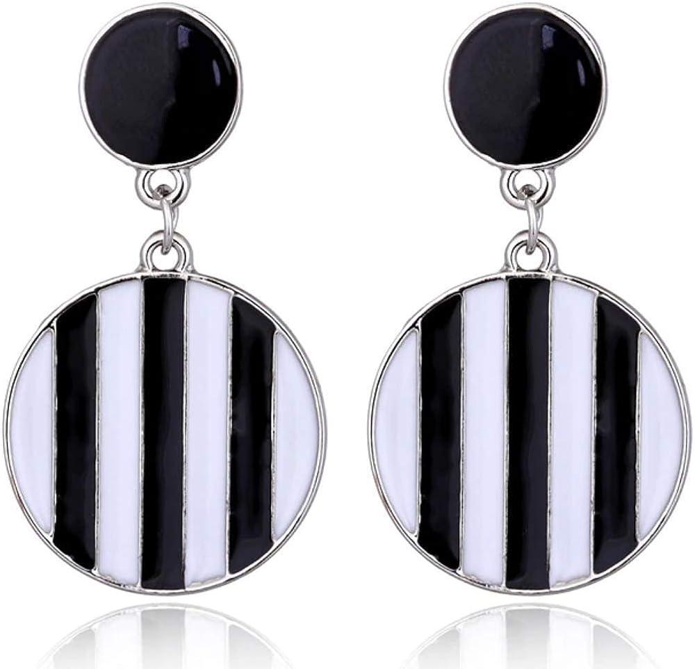 Women Boho Dangle Drop Stud Earring Acrylic Resin Ear Striped Earrings Jewelry