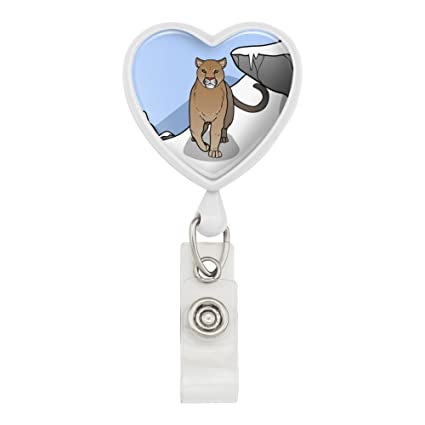 7084aae3214ed Amazon.com : Mountain Lion Cougar Puma Panther Snow Heart Lanyard ...