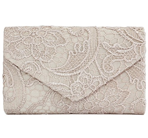 U-Story Womens Floral Lace Satin Evening Envelope Clutch Bridal Wedding Handbag Purse (Champagne) by U-Story