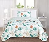 Great Bay Home 3 Piece Quilt Set with Shams. Soft All-Season Cotton Blend Bedspread Featuring Attractive Seascape Images. The Key West Collection By Brand. (Twin)