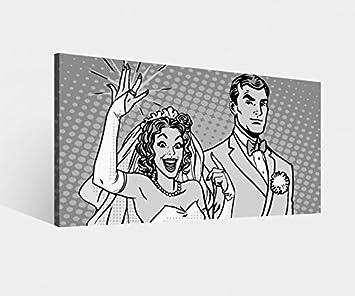 Lienzo Anillo de Boda matrimonio pareja novia dibujos animados blanco y negro Lienzo Pared Imágenes de