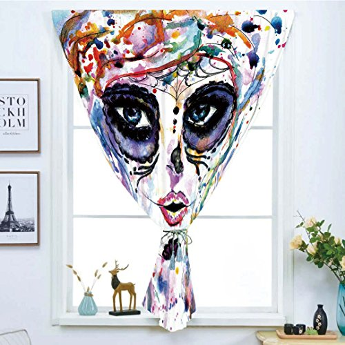 Blackout Window Curtain,Free Punching Magic Stickers Curtain,Sugar Skull Decor,Halloween Girl with Sugar Skull Makeup Watercolor Painting Style Creepy Decorative,Multicolor,Paste style,for Living Room -