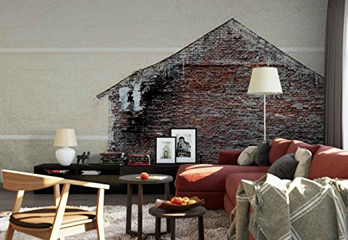 Photo wallpaper wall mural - Old Brick House Wall Torn Poster - Theme Textures & Effects - XXL - 13ft 8in x 9ft 6in (WxH) - 4 Pieces - Printed on 130gsm Non-Woven Paper - 1X-17486VEXXXXL