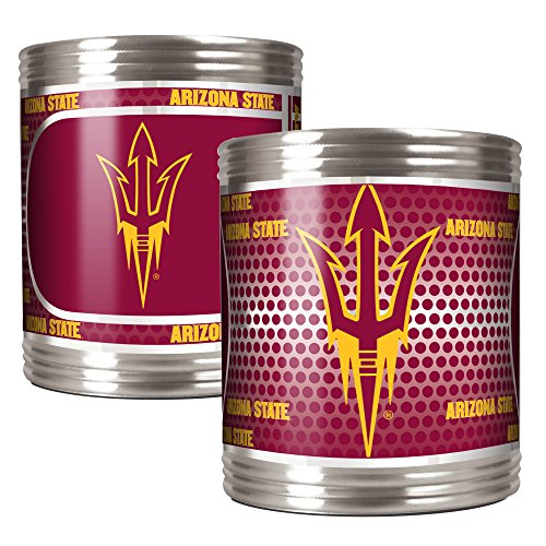 (NCAA Arizona State Sun Devils Stainless Steel Can Holder with Hi-Definition Metallic Graphics Set (2-Piece), Silver)