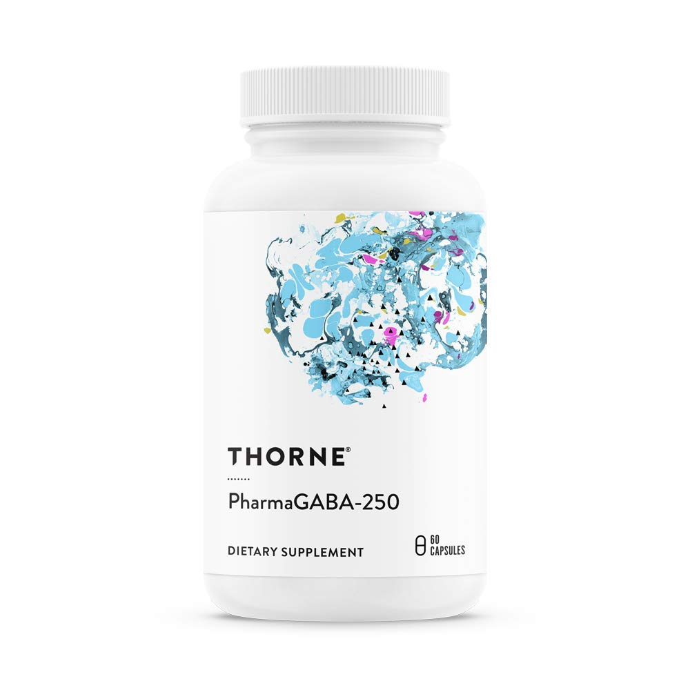 Thorne Research – PharmaGABA-250 – Natural Source GABA Gamma-Aminobutyric Acid Supplement – Promotes a Calm, Relaxed, Focused State of Mind – 60 Capsules