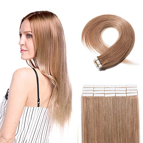 Tape in Human Hair Extensions Strawberry Blonde Double Side Tape Seamless Skin Weft Rooted Tape on Natural Hair Extensions 20pcs Long Straight Silky (18 inch 60g,#27 Dark Blonde)