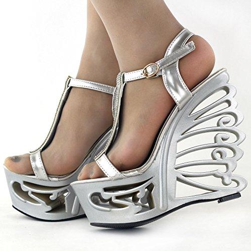 Argent mariée Voir talon l'établissement T papillon bracelet compensées mariage histoire sandales Glitter LF51803 rXg7xwXq