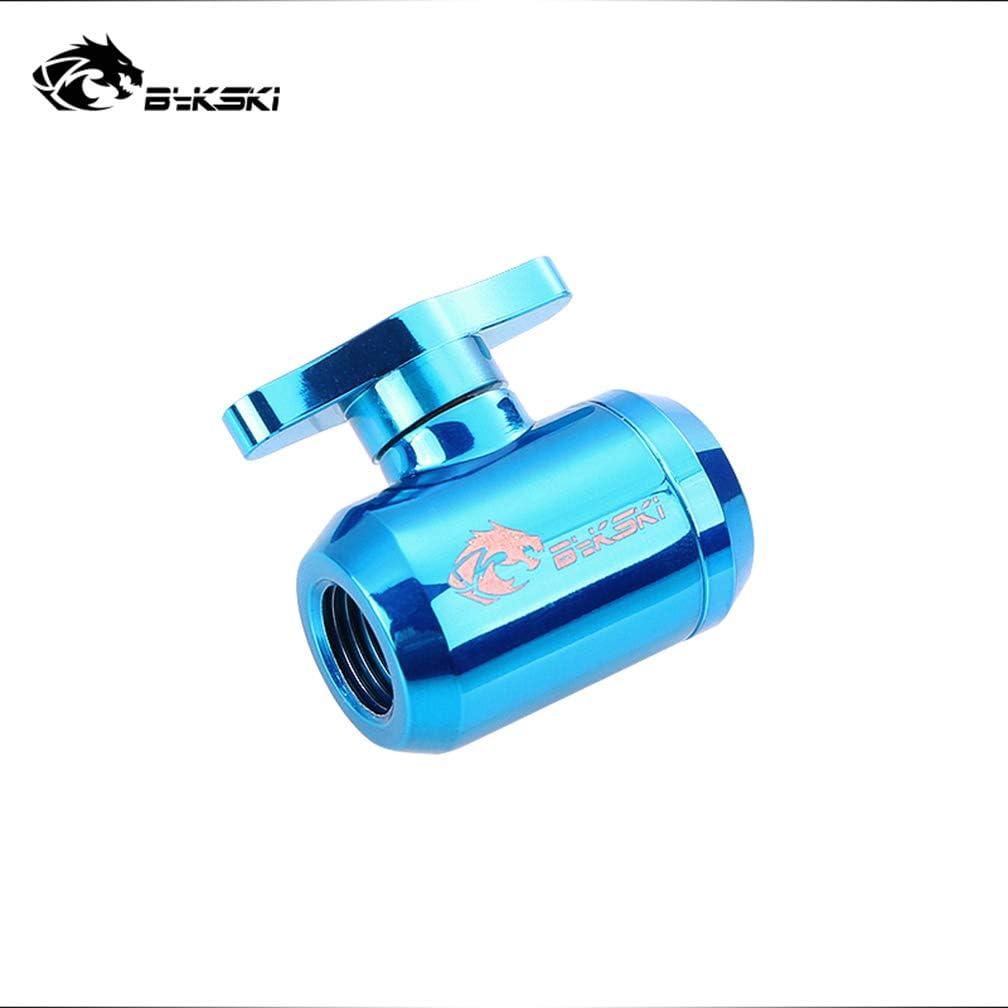 "Bykski G1/4"" Metal Valve for PC Watercooling Water Liquid Cooling Watercooled System 2-Way Shutoff Drain Ball Valve Fitting (Blue)"