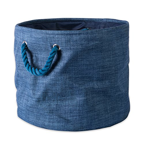 "DII Collapsible Variegated Polyester Storage Basket or Bin with Durable Cotton Handles, Home Organizer Solution for Office, Bedroom, Closet, Toys, & Laundry (Large Round – 16x15""), Blue"