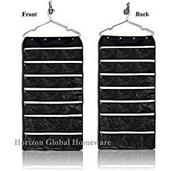 Hanging Jewelry Organizer with 42 Zipper Pockets for storing Jewelries, Accessories, Toiletries, Black