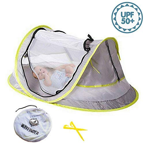 Wayfinder TravelTot, Baby Travel Tent Portable Baby Travel Bed Indoor & Outdoor Travel Crib Baby Beach Tent UPF 50+ UV Protection w/Mosquito Net and 2 Pegs ()